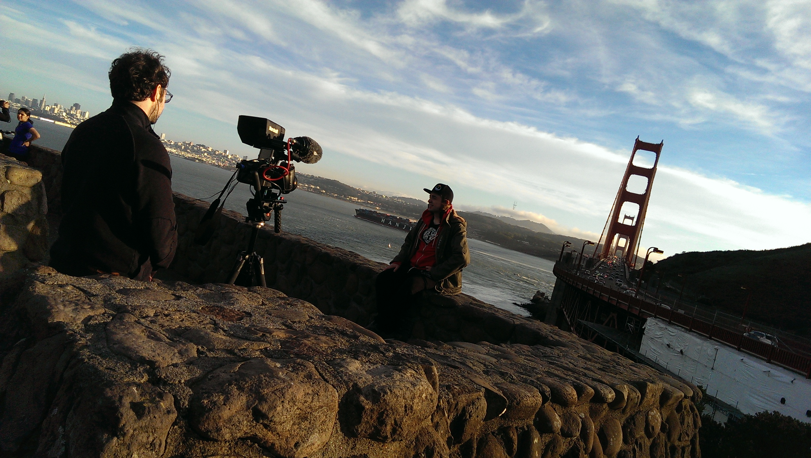 (Interviewing Clark French in front of the Golden Gate Bridge, San Francisco)