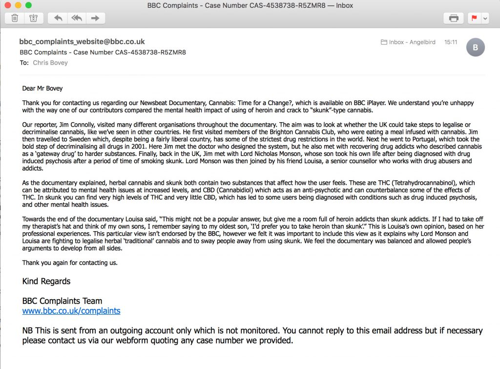 Response from the BBC to complaint about broadcasting dangerous advice on drugs.