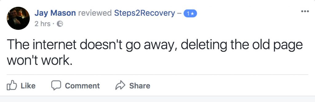 The internet doesn't go away, deleting the old page won't work.