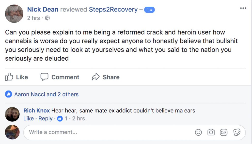 Can you please explain to me being a reformed crack and heroin user how cannabis is worse do you really expect anyone to honestly believe that bullshit you seriously need to look at yourselves and what you said to the nation you seriously are deluded